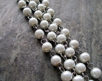 glass pearl beaded rosary style chain 6 mm round beads classic vintage style silver toned wire connectors white, 1 foot
