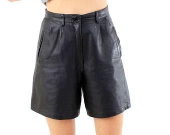 Vintage black leather shorts – Etsy