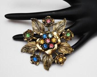 Flower Brooch LN Little Nemo Colorful rhinestone antique gold tone pin