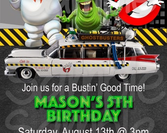 Ghostbusters Inspired Boys Birthday Party Invitation -Printable File