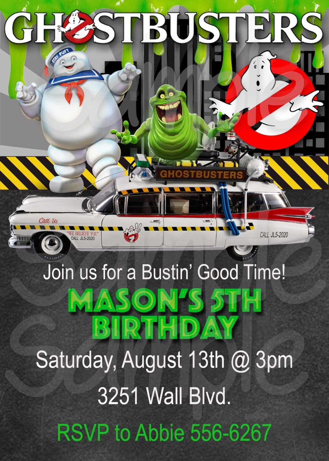 Ghostbusters Inspired Boys Birthday Party Invitation