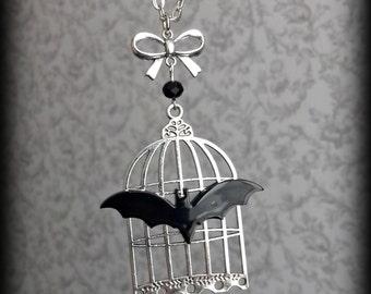 Pet bat Victorian birdcage necklace.