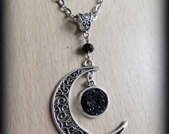 Gothic filigree crescent moon and faux black druzy necklace.