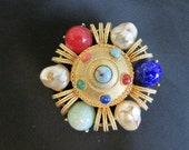 colorful vintage 70's signed CAPRI PIN BROOCH multi color stones and pearls set in gold tone Florenza Jd1-126