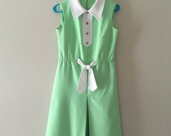 50% OFF SALE Green Vintage Mod Dress with Floral Buttons