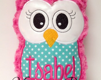 Hot Pink and Turquoise Plush Owl Reading Buddy Pillow, Soft Toy