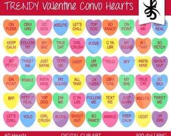 Digital Clipart Hearts-Trendy Valentine Convo Hearts-Social Media-Slang-Conversation-Valentines Day Candy Graphics-Instant Download Clip Art