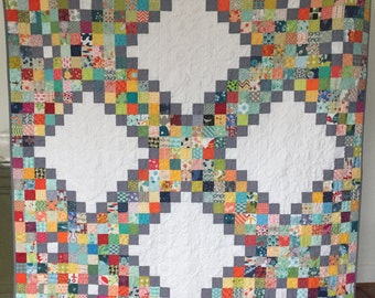 Lap, throw, couch, scrappy patchwork quilt blanket grey white