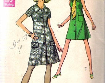 """Vintage 1969 Simplicity 8605 Coat Dress Sewing Pattern Size 12 Bust 34"""""""