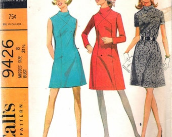 Vintage 1968 McCall's 9426 Mod Dress in Three Versions Sewing Pattern Size 8 Bust 31 1/2""