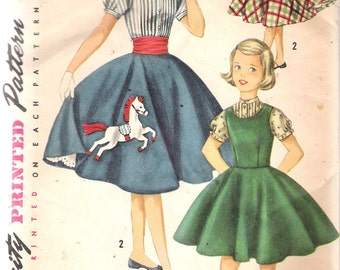 Vintage 1956 Simplicity 1741 Girls' Jumper, Blouse & Skirt Sewing Pattern Size 7 Breast 25""