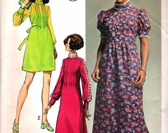 """Vintage 1970 Simplicity 9080 Young Contemporary Fashion One Piece Dress in Three Lengths Sewing Pattern Size 9 j Bust 33"""""""