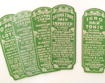Antique Apothecary Labels - Authentic 1920s Drug Store Bottle Labels / Decorative Apothecary Labels / Unused New Old Stock / Set of 5 #01