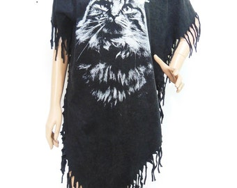 Cat T Shirt Meow Hippie Shirt Maxi Dress Poncho Tassel Dress bleached TShirt Black Shirt Screen Print (Measurements - fits great from S - M)