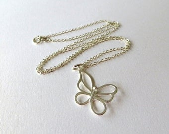 Butterfly Necklace. Butterfly Pendant. Sterling Silver Charm. Sterling Silver Necklace. . 925 Sterling Silver.