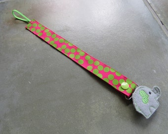 Pacifier Leash Paci Clip - Pink with Lime Dots Ribbon