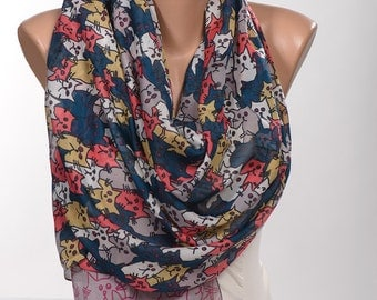GRAY and Red and Blue and Mustard Cats Scarf. Long Scarf Wrap. Spring neck wrap shawl. NEW Women neck wrap.