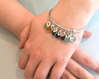 Grandma gift personalized, Custom Birthstone initial bracelet, adjustable bangle bracelet stackable charm bangle gold bracelet gift for mom