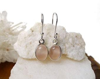 Sterling Silver Rose Quartz Earrings, Sterling Silver Rose Quartz Gemstone Earrings, Heart Chakra, Small Real Rose Quartz Silver Earrings