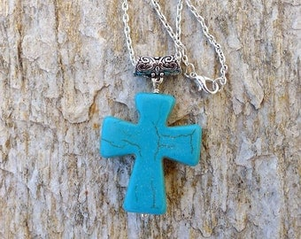 Turquoise Cross Necklace, Gemstone Cross Necklace, Faith Jewelry, Wrapped Christian Cross Pendant on Chain - SE-GSP274