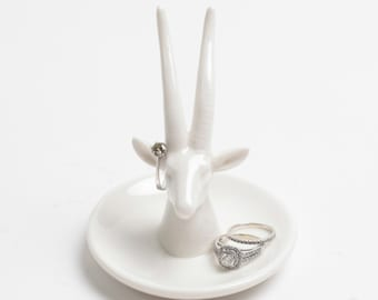 Animal Ring Holder - White Faux Gazelle Ring Dish - White Faux Taxidermy Jewelry Holder - Ceramic Jewelry Tray - Jewelry Organizer Stand