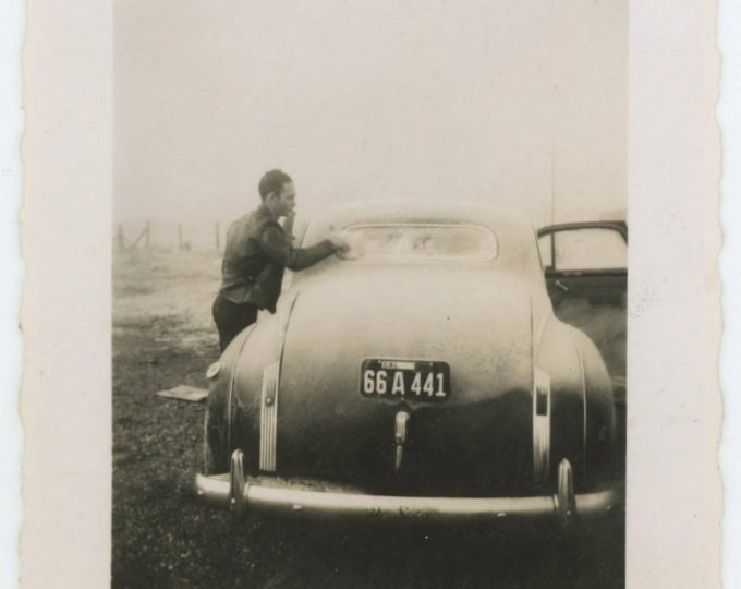 Young Man and Desoto Coupe, 1940s-50s  Snapshot [64453]