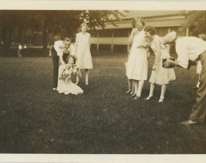 Taking Photos in the Park, c1920s  Vintage Snapshot Photo (65467)