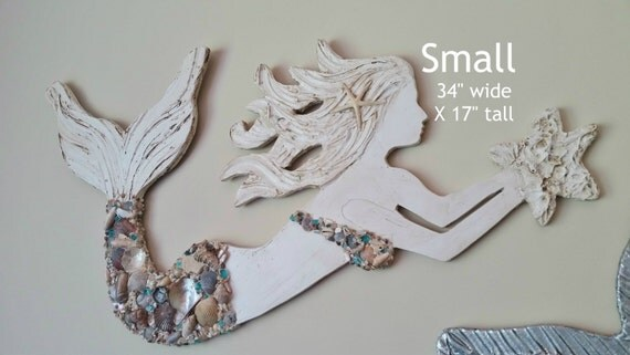 Mermaid Art, Handmade Wood and Shell Mermaid, Beach House Coastal Decor, Small Size Unique, Made to Order, Choose your Options