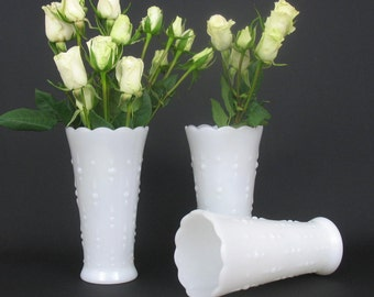Vintage Milk Glass Dots and Arrows Vases by Anchor Hocking