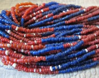 Naga Glass Bead Necklace. Vintage Age. Nagaland Tribal Jewelry of the Konyak People, Northeast India. Micro Glass Bead Torsade Neck Collar