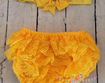 Yellow Baby Bloomer, Yellow Baby headband, Yellow Diaper Cover, Lace Diaper Cover, Yellow Bloomer, Yellow Bow headband, Baby Gift, Bloomers
