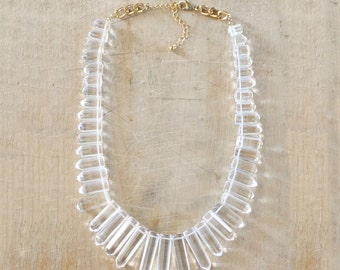 Limited Edition! Clear Statement Necklace, Clear Spike Necklace, Crystal Statement Necklace, Crystal Bib Necklace
