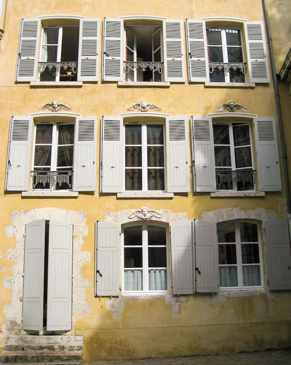 France Photography - Travel - Chartres, France - Yellow - House - Windows - Fine Art Photograph Print - Home Decor