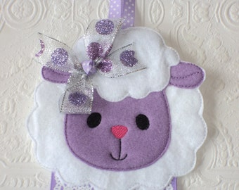 Lamb Bow Holder, Lamb Clip Holder, Hair Bow Holder, Hair Clip Holder, Wall Hanging, Wall Decor, Girls Room, Barrette Keeper, Hair Accessory