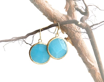 Round Blue Jade Stone Gold Plated Earrings