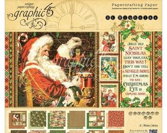 Christmas PAPER PAD, Graphic 45 St Nicholas, Santa Paper Pad,Santa Claus Paper Pad, Santa Card Stock, Santa Paper Pad, Christmas Paper