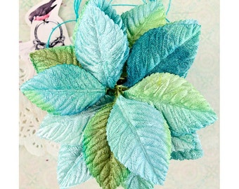 VELVET LEAVES - Blue Velvet Leaves - Prima Royal Menagerie - Craft Leaves - Vintage Embellishments - Mixed Media Leaves