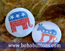 Republican / Democrat Pinback Button Badge, Donkey Elephant Pin, Donald Trump Bernie Sanders Feel the Bern Magnet, Political 2016 Election