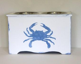 elevated pet feeder, blue crab dog feeder, personalized pet feeder, elevated dog bowl, pet bowl, coastal decor