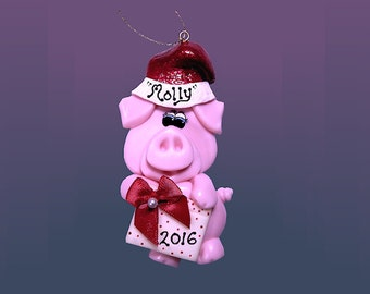 Pig With Present Ornament