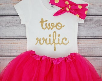 Second birthday outfit girl, 2nd birthday girl outfit, Baby girl second birthday outfit Two rrific, Pink and gold