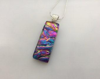 Dichroic Glass Pendant, Fused Glass Jewelry, Rainbow Dichroic Pendant