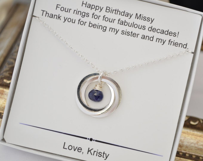 40th Birthday gift for sister, Blue Sapphire necklace, September jewelry, 4 Sisters necklace, Best friend jewelry, September birthstone