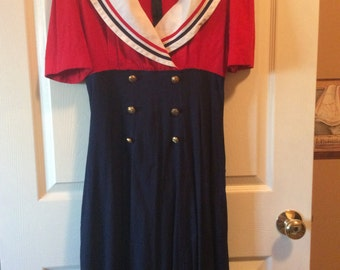 Vintage red white and blue dress from 80's