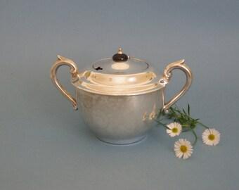 Vintage sugar bowl silver plate Goldraft EPNS A1 1930s 1940s Art Deco style 1930s 1940s