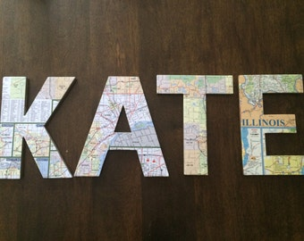 Handmade map letters- set of 2
