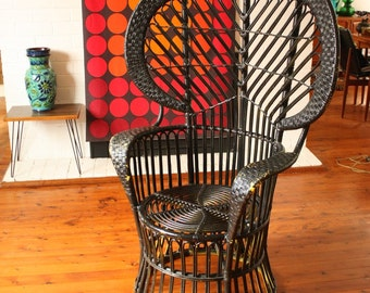 Vintage Peacock Cane Chair in Black