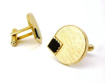 1960s DANTE Modernist Cufflinks Mad Men Era Mens Vintage Gold Tone Cufflink Set with black stones by Dante