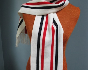 Vintage 1960's Fraternity Scarf Red White Blue School Scarf