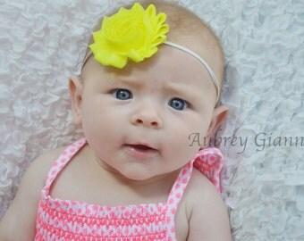 Neon Yellow Shabby Flower on Skinny Elastic Headband, Newborn Headband, hair bow, Toddler Headband, Baby Photo Prop.
